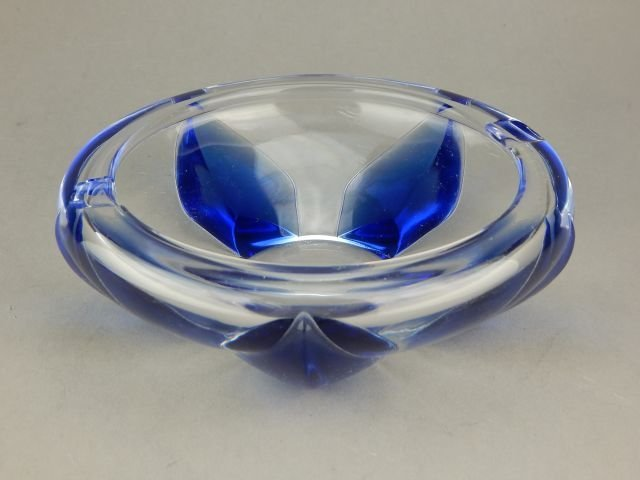 Lalique Cobalt Blue and Clear Crystal Ashtray