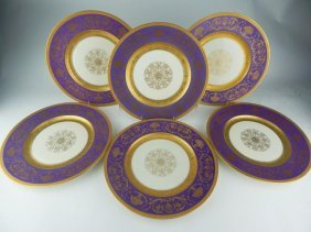 Set of Six Bavaria Porcelain Dinner Plates