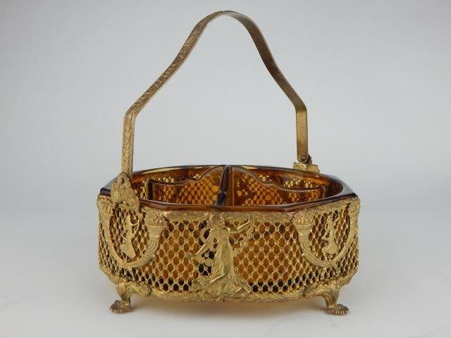 Empire Style Gilt Bronze Amber Glass Dish