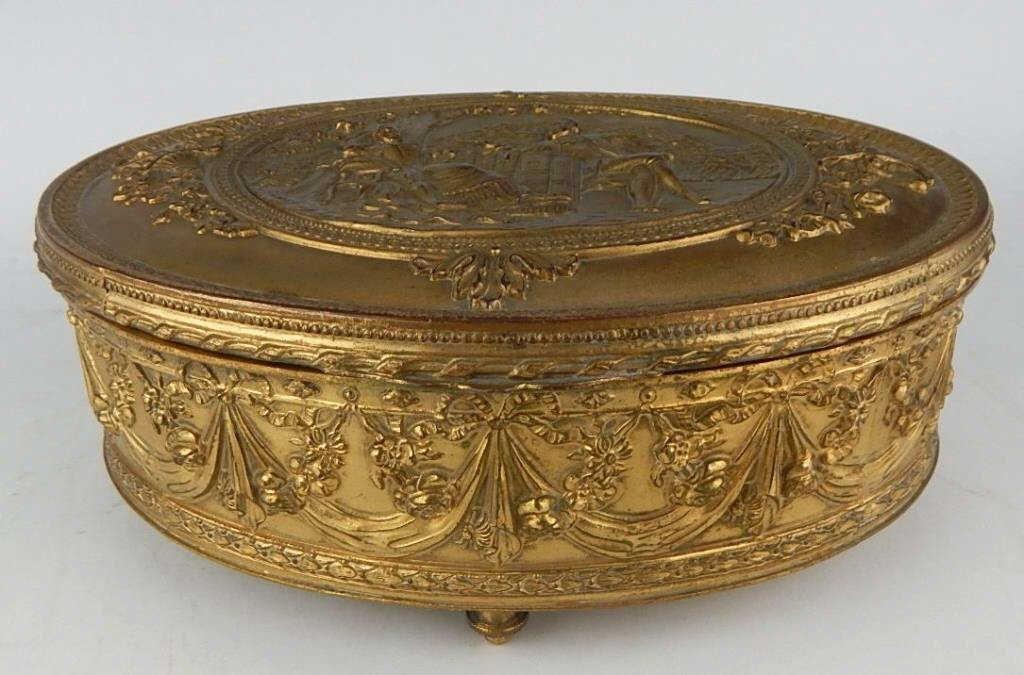 19th Century Dore Bronze Glass Lined Jewelry Box