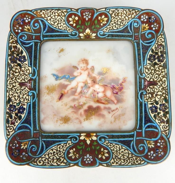 Sevres Porcelain and Champleve Enamel Dish