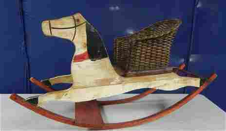 Antique Painted Carved Wood Rocking Horse
