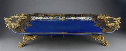 Gilt Bronze & Sevres Style Porcelain Serving Tray