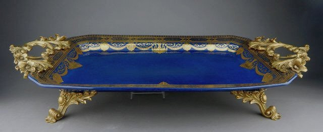 Gilt Bronze & Sevres Style Porcelain Serving Tray
