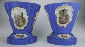 Pair Of Meissen Porcelain Cache Pot Jardinieres