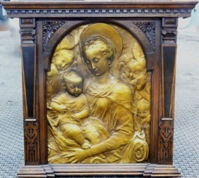 Antique Relief Of Mother And Child In Walnut Frame