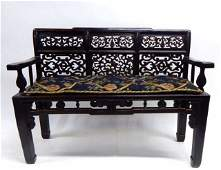 Chinese Carved Hardwood Bench w Fabric Cushion