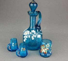 Moser Enameled Decanter With Three Shot Glasses