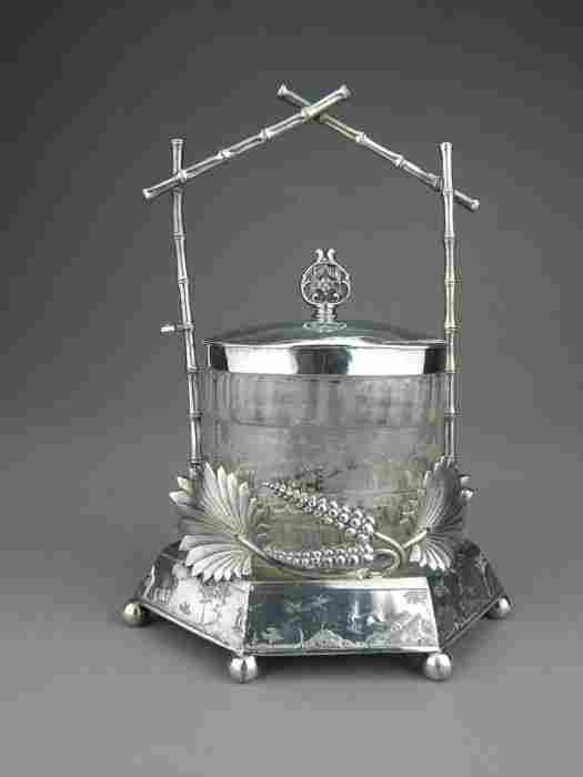 Meriden Victorian Etched Glass Pickle Castor