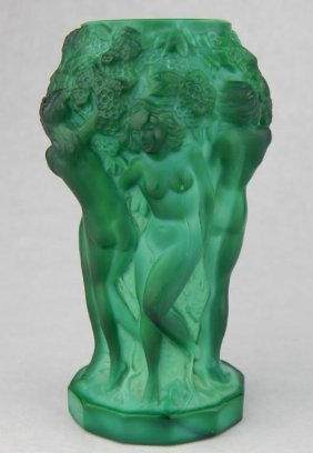 Malachite Glass Vase With Nudes
