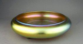 Steuben Style Gold Aurene Iridescent Art Glass Bowl