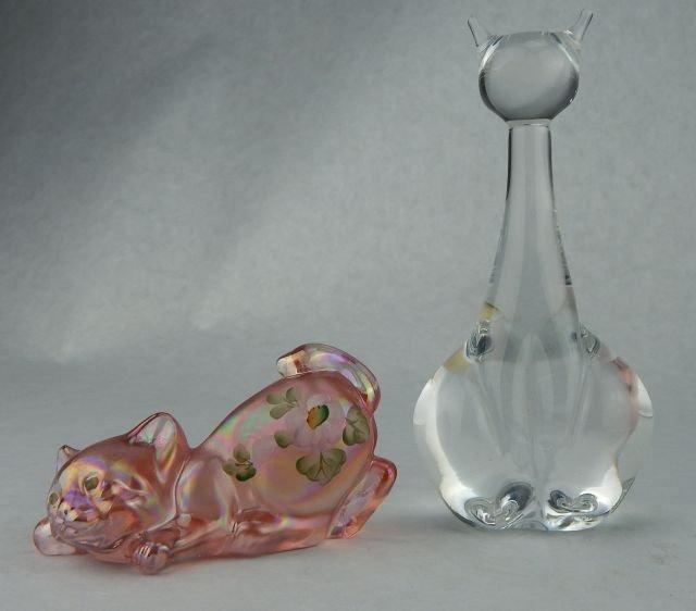 Mats Jonasson Crystal Cat & Fenton Crystal Cat