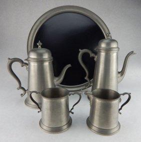 J C Boardman Colonial Pewter Tea & Coffee Service
