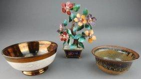 Porcelain & Pottery Bowl & Enamel On Copper Tree