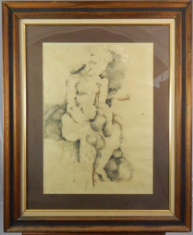 Unsigned Abstract Nude Drawing in Graphite