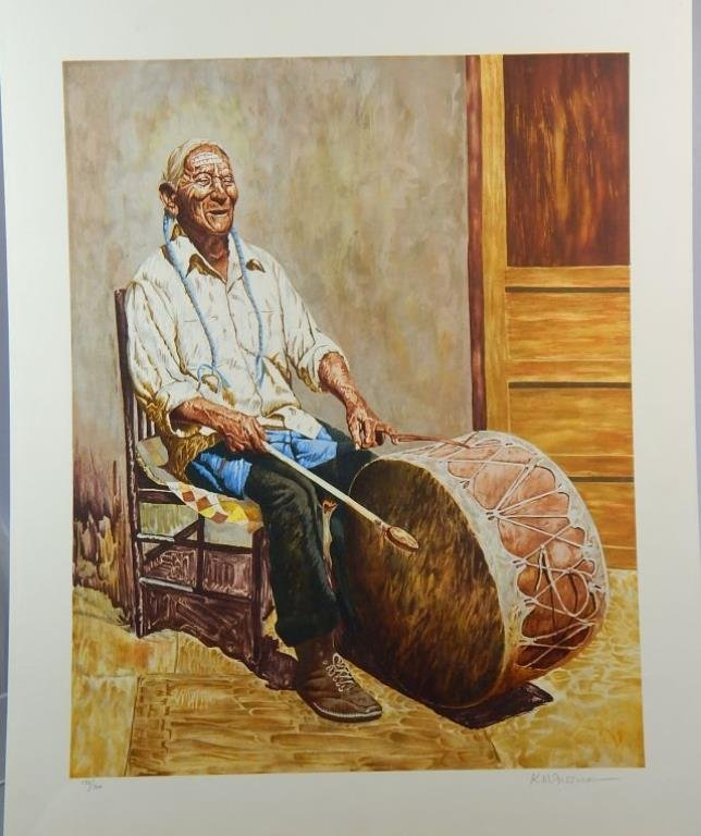 "9 lithos Kenneth Freeman (1935-2008) ""Taos Drummer Man"""