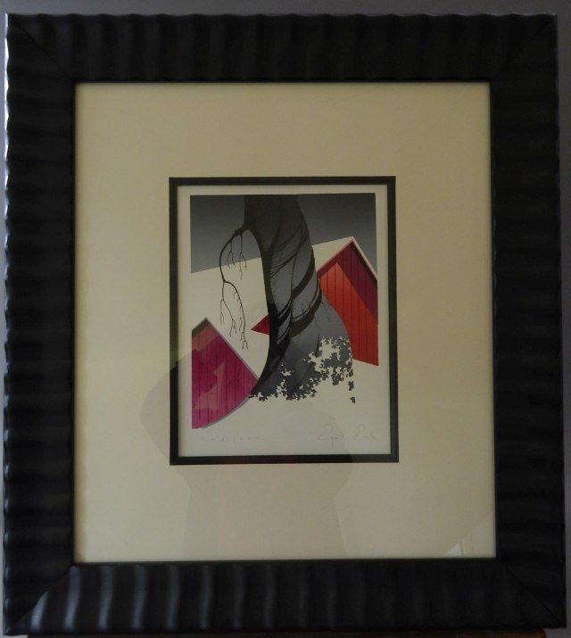 "(3) Eyvind Earle ""Red Barn Gray Sky"""