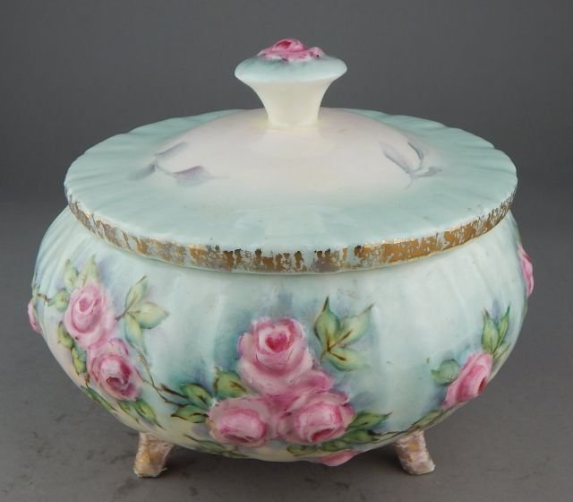 Hand Painted Footed Porcelain Covered Dish