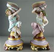 Pair of Tall Porcelain Girls Holding a Seashell