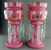 Pair of Bohemian Pink Glass Lusters with Prisms