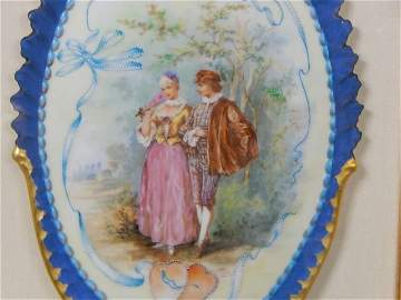 Hand Painted Porcelain Plaque in Display Frame