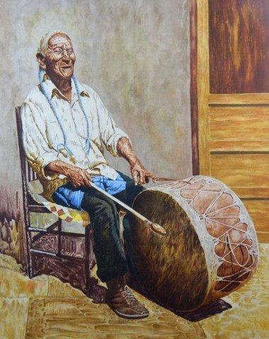 "Kenneth M. Freeman (1935-2008) ""Taos Drummer Man"""
