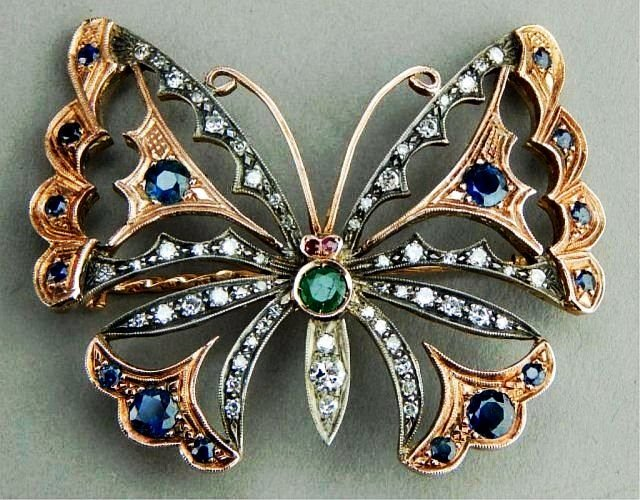 Russian Gold & Faberge Jeweled Butterfly Brooch
