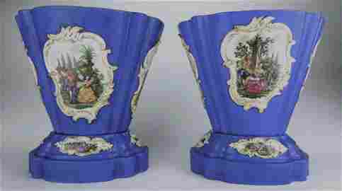 Pair of 19th Century Meissen Porcelain Jardinieres