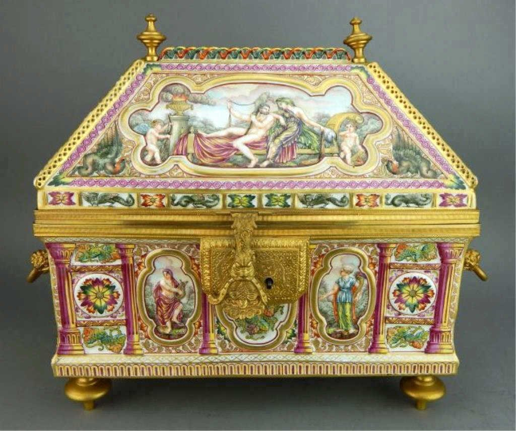 Very Large 19th Century Capodimonte Box