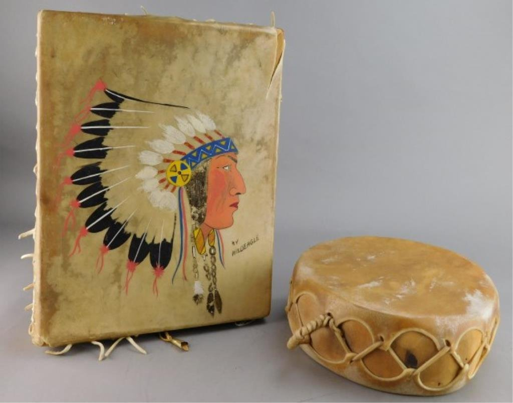 Two Native American Indian Drums