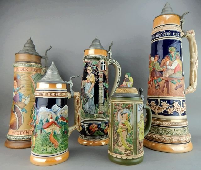 Five Large Gerz and West Germany Beer Steins