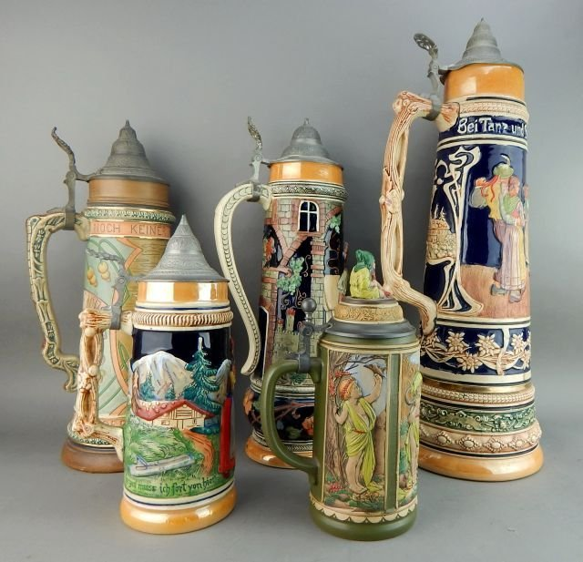 Five Large Gerz and West Germany Beer Steins - 2