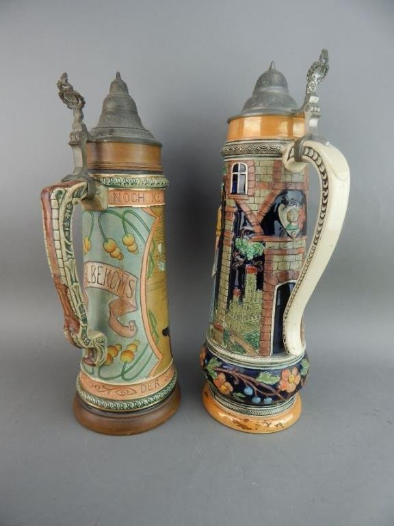 Five Large Gerz and West Germany Beer Steins - 7