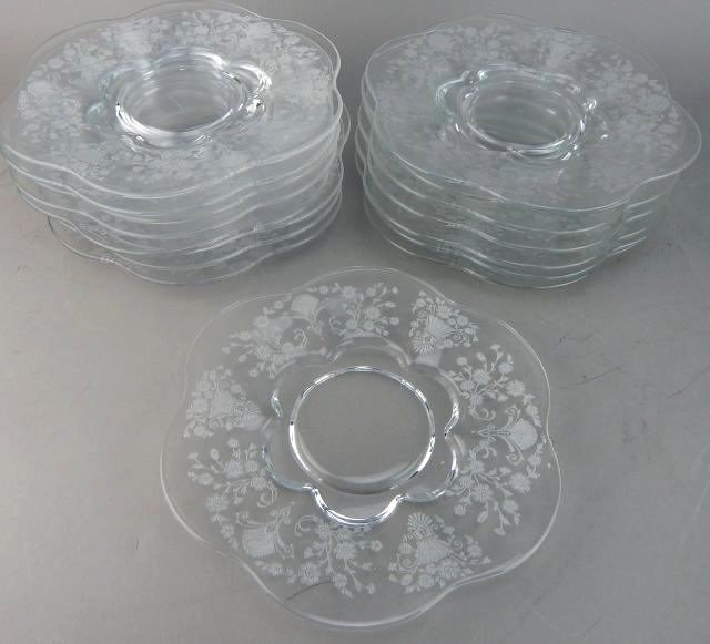 Fostoria Glass Plates with Etched Floral Pattern