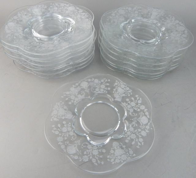 Fostoria Glass Plates with Etched Floral Pattern - 2