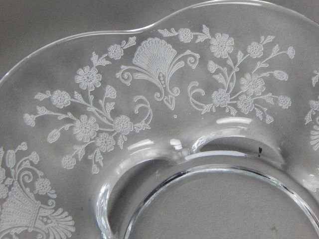 Fostoria Glass Plates with Etched Floral Pattern - 4