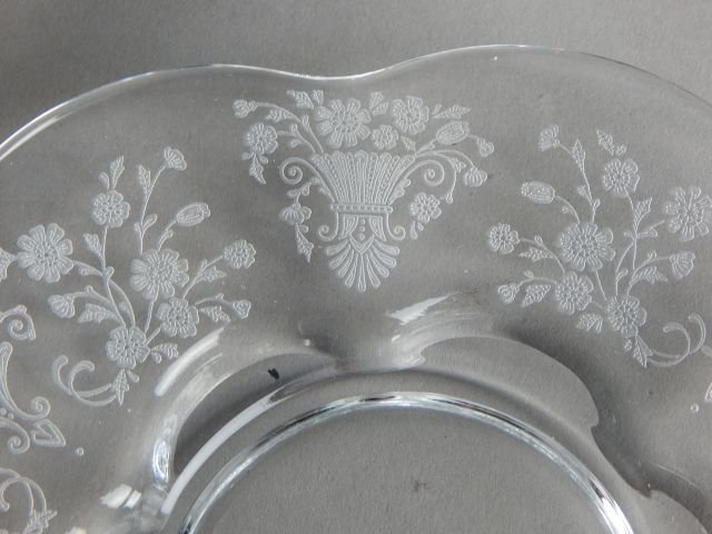 Fostoria Glass Plates with Etched Floral Pattern - 5