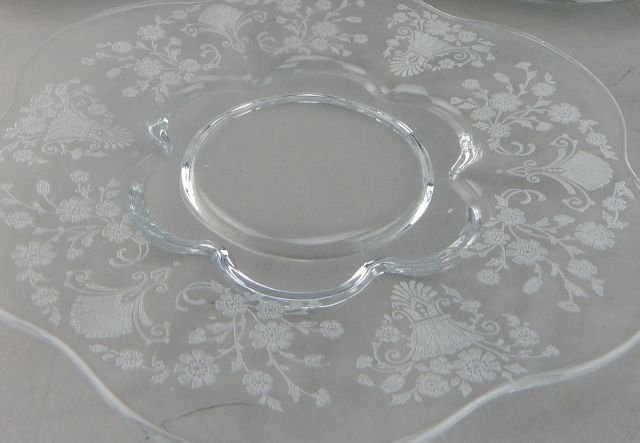 Fostoria Glass Plates with Etched Floral Pattern - 6