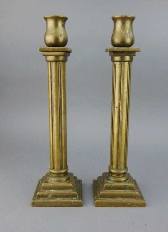 Pair of Heavy Brass Candle Sticks
