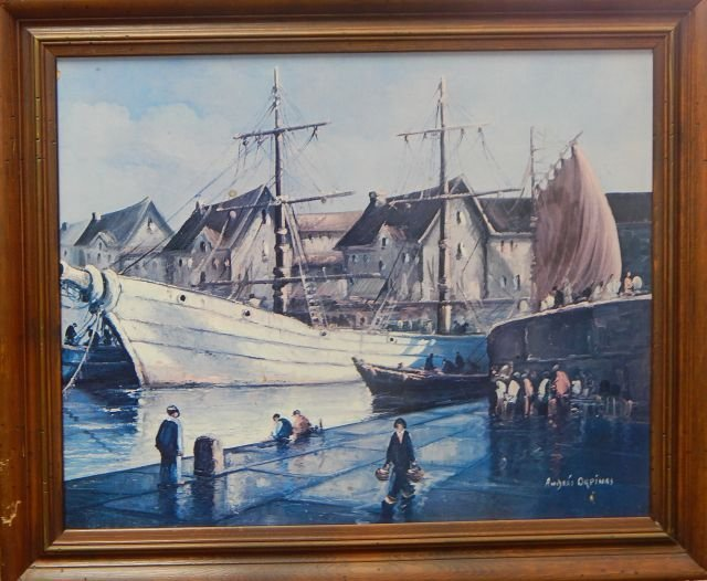 Framed Andres Orpinas Sailboat Print on Board