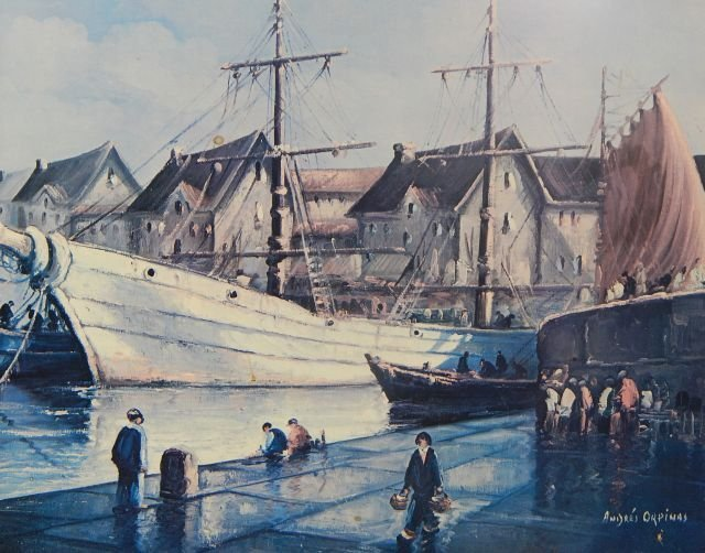 Framed Andres Orpinas Sailboat Print on Board - 2