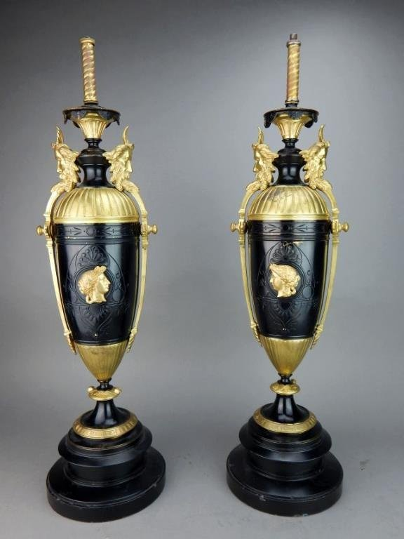 Pair of Classic French Black & Gold Lamps