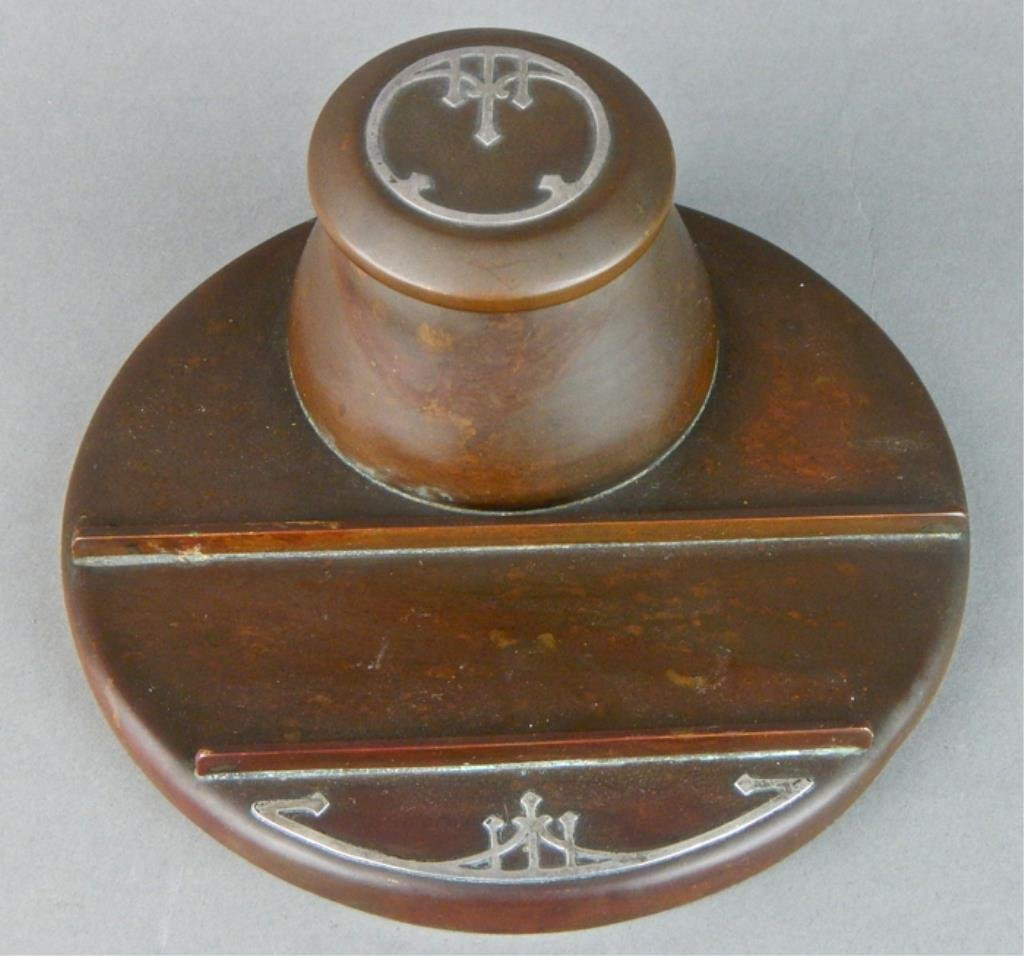Heinz Arts and Crafts Sterling on Bronze Inkwell