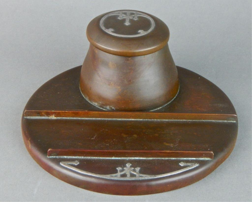 Heinz Arts and Crafts Sterling on Bronze Inkwell - 2