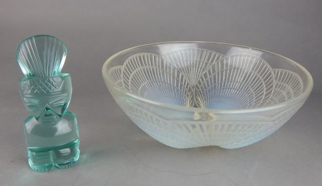 Lalique Opalescent Glass Serving Bowl & Figure