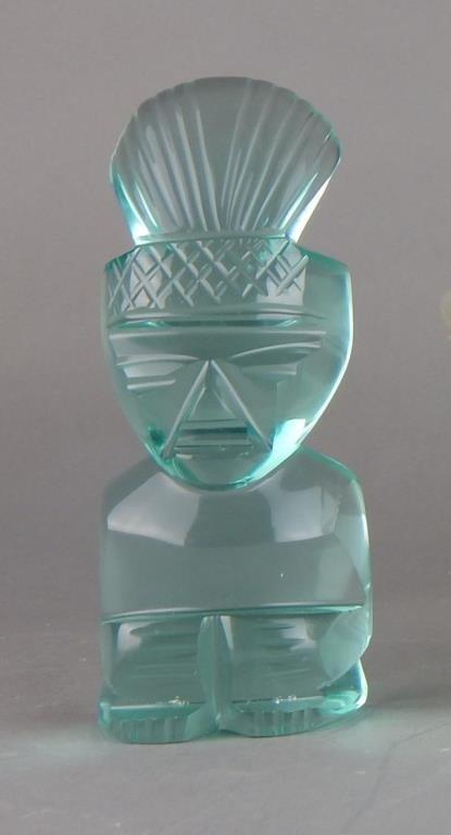 Lalique Opalescent Glass Serving Bowl & Figure - 2