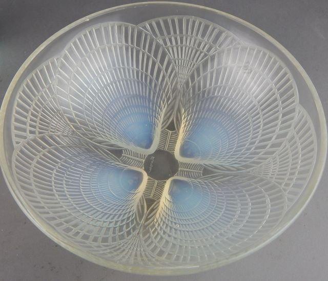 Lalique Opalescent Glass Serving Bowl & Figure - 3