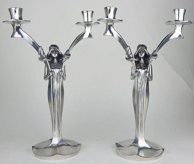 Pair of W.M.F. Art Deco Figural Candelabra