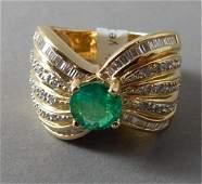 18K Yellow Gold Ladies Emerald and Diamond Ring