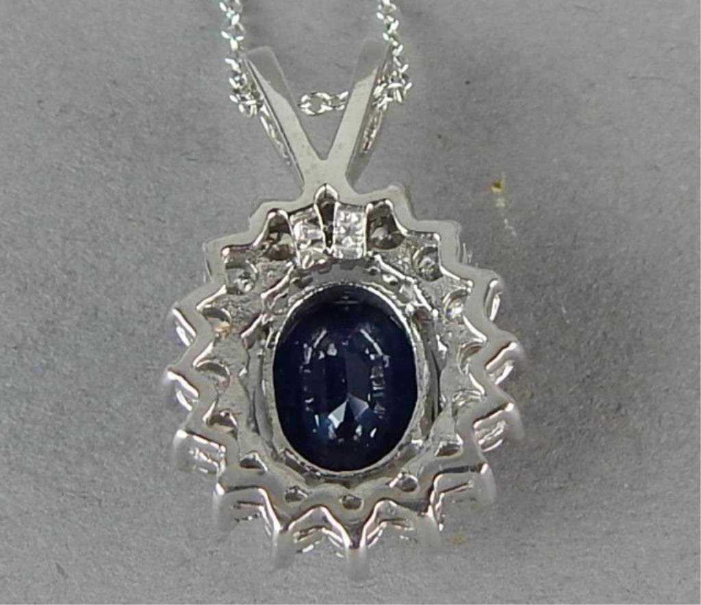 14K White Gold Sapphire and Diamond Necklace - 2